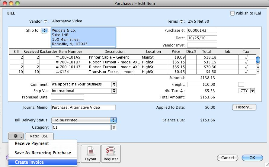 Create an invoice from a purchase in AccountEdge.
