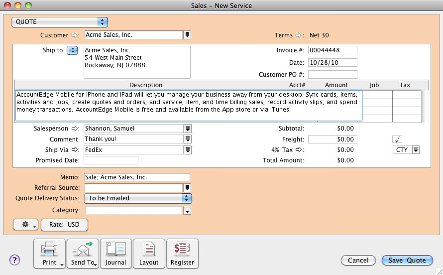 Increased description, note, and email message field size in AccountEdge.
