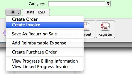 Sales and purchases action buttons in AccountEdge.