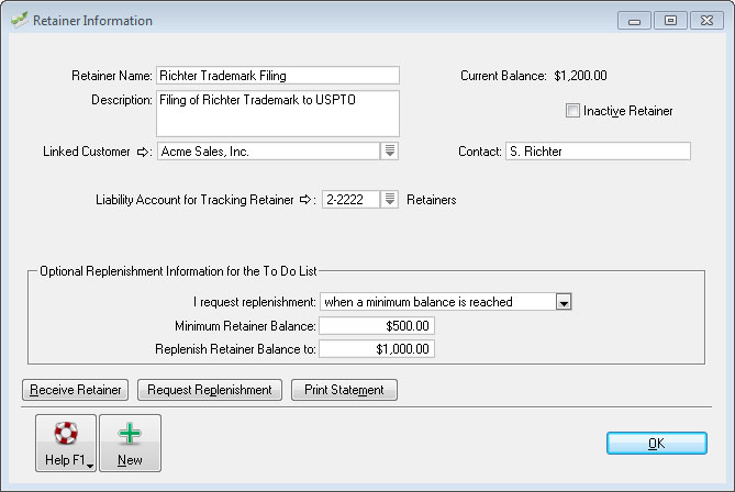 Retainers in AccountEdge.